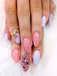 super cute barbie nails acrylic long almond shape pink and white