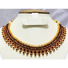 necklace choker design images Simple indian imitation jewellery design necklace choker maroon enamel jpg