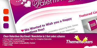valentines day clean tri color email templates by themerockers