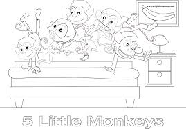 five little monkeys jumping on the bed coloring sheet coloring