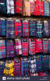 scottish tartan scarves for sale in the hightlands scotland stock