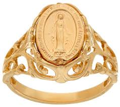 gold metal rings images 14k gold polished miraculous medal ring page 1 001