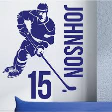 Sports Home Decor Removable Custom Name U0026 Number Hockey Player Vinyl Wall Decals