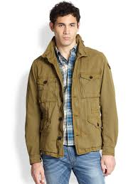 sel twill military jacket in green for men lyst