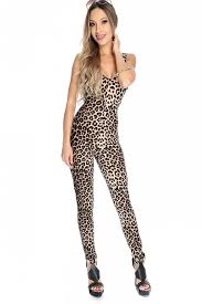 fitted jumpsuit leopard printed sleeveless fitted jumpsuit