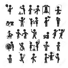 children activities set of children activities play and learn human pictogram icons