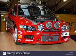 mitsubishi race car mitsubishi lancer evo rally car autosport show 2006 stock photo