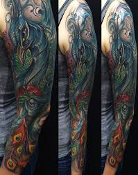 art junkies tattoo tattoos color peacock sleeve color tattoo