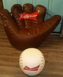 budweiser baseball glove bean bag chair with base ball ottoman man cave new