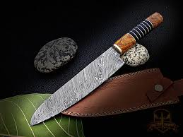custom made kitchen knives 13 damascus chef knife wood handle