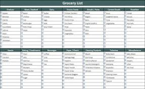Shopping List Template Excel Grocery List Template