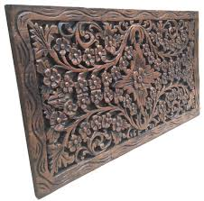 Thai Home Decor by Wood Carved Panel Decorative Thai Wall Relief Panel Sculpture