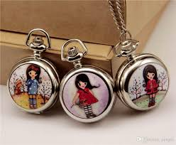 ladies pocket watch necklace images Silver high quality girl pocket watches children kids cute jpg