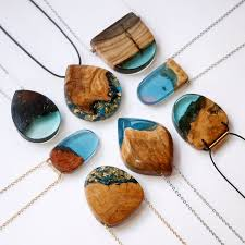 wood necklace designs images Semi natural wooden jewelry resin pinterest resin melbourne jpg