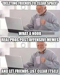 Real Memes - deleting friends to clear space what a noob real pros post