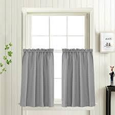 grey bathroom window curtains amazon com waffle woven half window curtains for bathroom