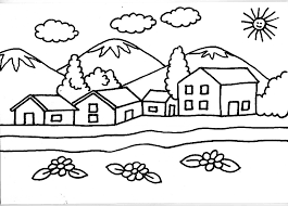 coloriage  paysages  maisonavecmontagne