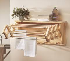 Bathroom Towel Shelf Pull Out Oak Wooden Towel Shelf Combined Mini Potted Plant