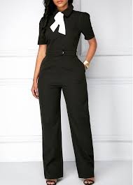 black jumpsuit sleeve sleeve tie neck pocket black jumpsuit modlily com usd 41 00