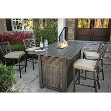 Patio Bar Height Dining Table Set Agio Davenport 5 Piece Outdoor Bar Height Fire Pit Set Bed Bath