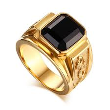 ring for men men s gold plated ring black large agate 316l stainless