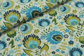 Muster Blau Grün Jersey Blumen Grau Meliert Mit Blau Gr禺n Khaki Blumen