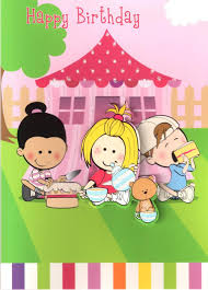 girls 3d tea party birthday card childrens kids quality activity