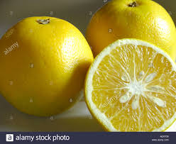 three yellow color sweet lime round fruit one cut with seeds two