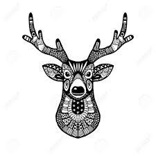 ornamental deer head trendy ethnic zentangle design hand drawn