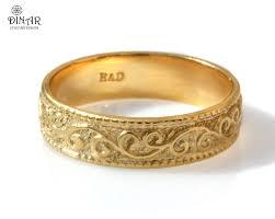 wedding ring yellow gold band art zoom