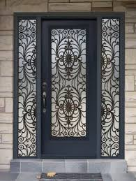 modern house designs flat top grill iron glass exterior entry door