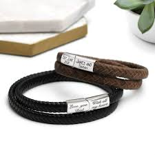 leather wrap bracelet men images Personalised men 39 s double leather wrap bracelet hurleyburley jpg