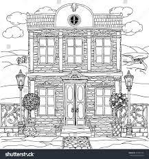 black white illustration house details stock vector
