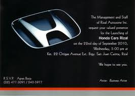 Showroom Invitation Card Honda Cars Rizal The Newest Honda Dealership