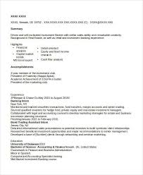 Sample Investment Banking Resume by Banking Resume Samples 45 Free Word Pdf Documents Download