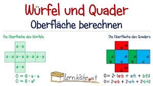 oberfläche eines würfels würfel und quader oberfläche berechnen