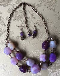 chunky necklace set images Purple agate chunky double strand necklace set jpg