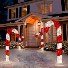 Outdoor Candy Cane Lights by Tis Your Season 4 Ft Lighted 3d Tinsel Candy Cane Outdoor