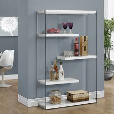 vegas white wide modern open bookcase furniture vancouver