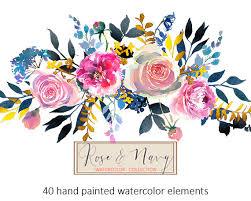 watercolor flowers digital clipart png floral elements peonies
