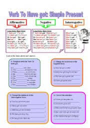verb to have got simple present