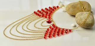 heart bead necklace images How to make red glass beads and heart bead multi strands chain jpg