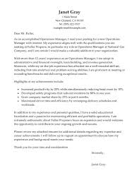 Email Cover Letter Sample For Resume by Best Operations Manager Cover Letter Examples Livecareer