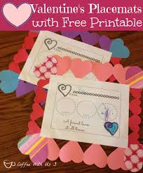 coffee with us 3 valentines placemats for kids with