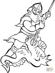 knight fighting dragon coloring free printable coloring