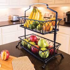 Portavino Ikea by 2 Tier Wrought Iron Wire Basket Storage Fruit Rack Holder Kitchen