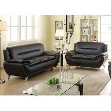 Modern Sofa And Loveseat Norton 2 Pc Black Faux Leather Modern Living Room Sofa And