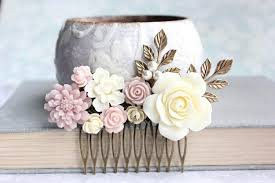 flowers for hair blush bridal hair comb dusty pink ivory flowers for