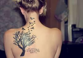 shoulder oak tree with birds flying out inked