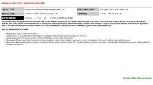political advisor cover letter u0026 resume